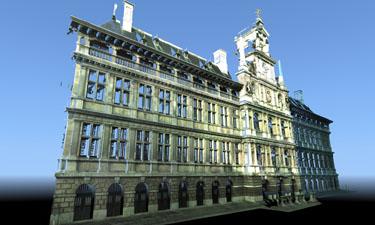 3D laserscanning van de gevel van een historisch gebouw