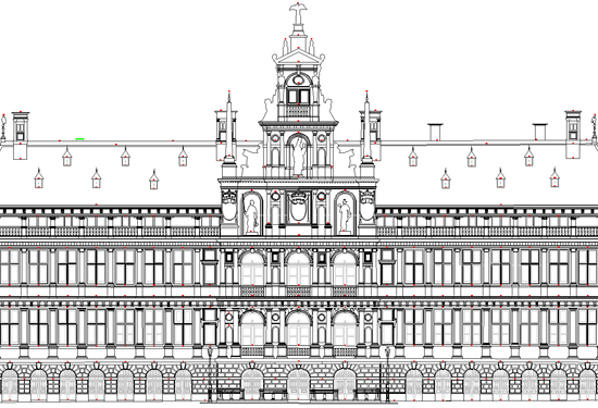 Plan voorgevel stadhuis Antwerpen