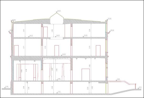 Plan doorsnede gebouw Elisabethlei