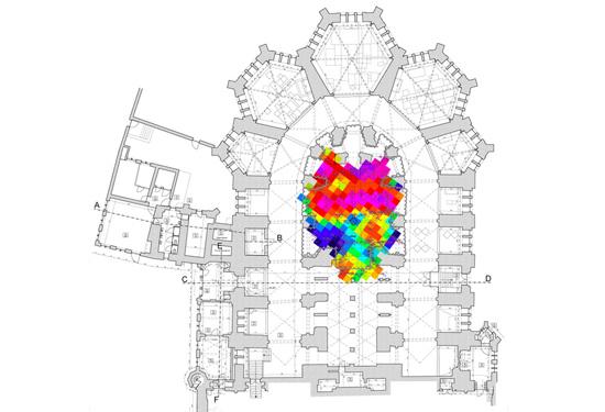 Scan van de vloer in een kerk