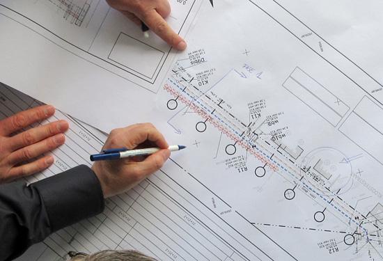 Coordinaten van objecten weergegeven op een plan