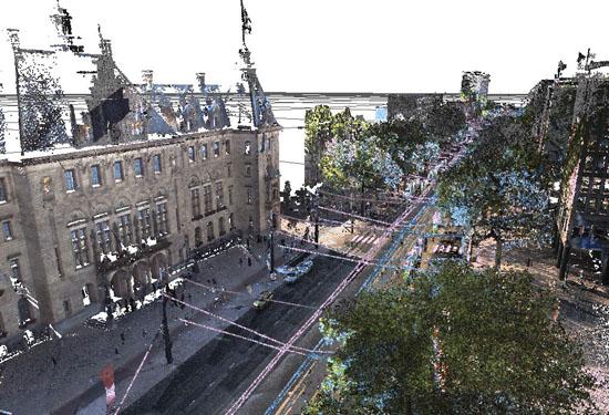 3D puntenwolk Coolsingel Rotterdam