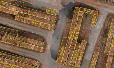 Opmeting van een houtvoorraad met een drone
