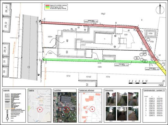 plan met aanduiding van de verplaatsing van een voetweg