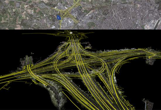 Weergave van de topografische opmeting van de R0 in Groot-Bijgaarden in de 3D Mapping Cloud van Orbit.
