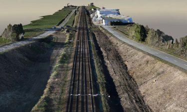 3D model van 10km lange spoorwegwerf