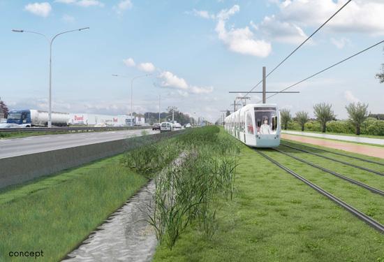 Concept voor de sneltram langs de A12