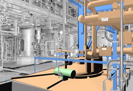 3D model van een industriële installatie